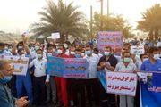 تجمع کارگران عسلویه در اعتراض به سخنان زنگنه